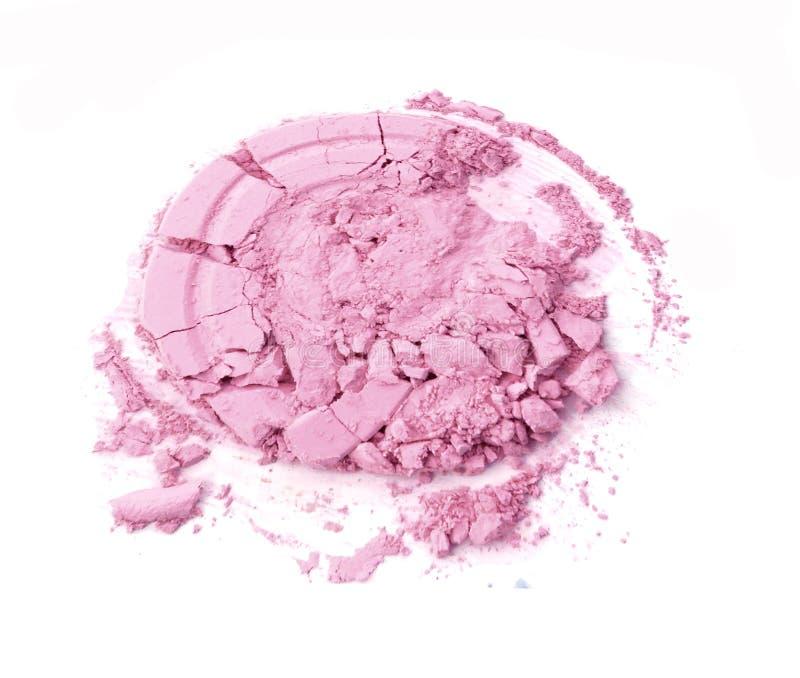 Forma cosmética machacada del círculo del polvo facial del color en colores pastel imágenes de archivo libres de regalías