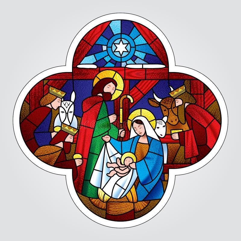 Forma cruzada con la Navidad y la adoración de la escena de unos de los reyes magos stock de ilustración
