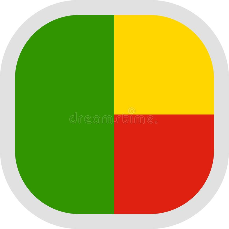 Forma cuadrada del icono con la bandera stock de ilustración