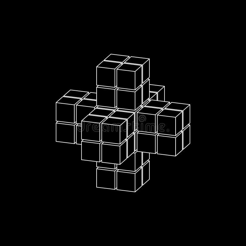 Forma 3d abstrata dos cubos Proje??o de Dimetric Ilustra??o do esbo?o do vetor ilustração royalty free