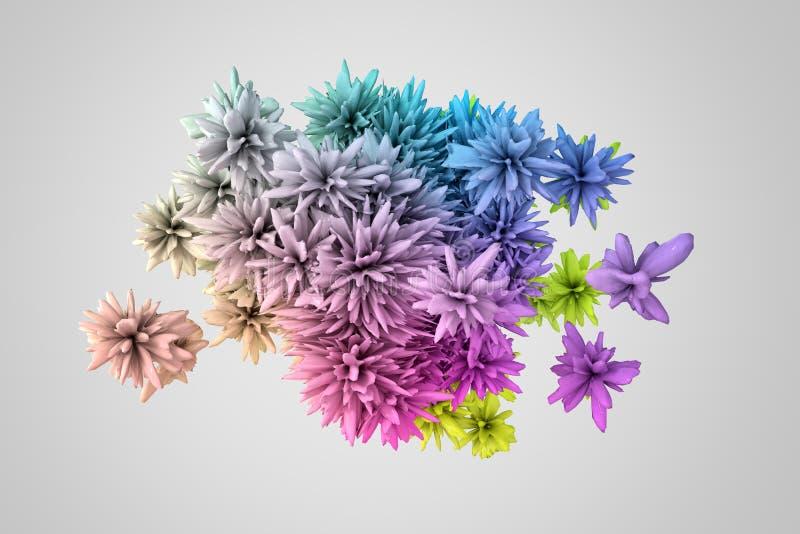 Forma 3d abstrata em muitas cores que se assemelha à flor ilustração stock