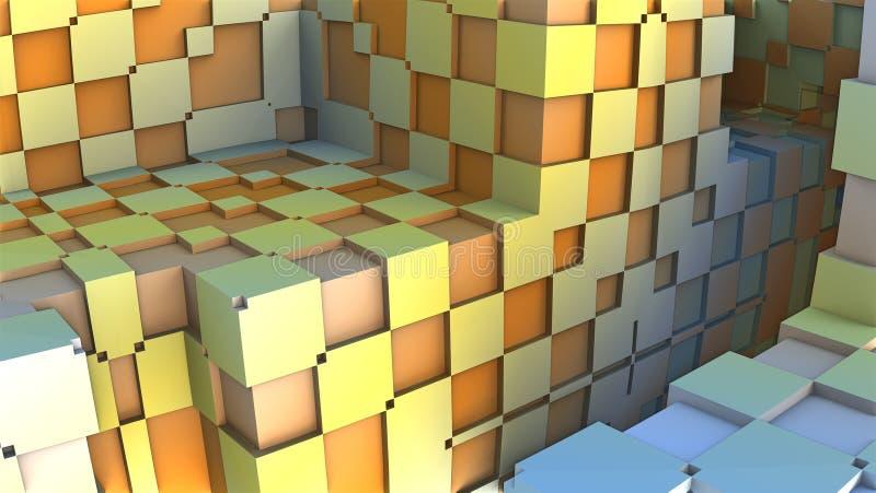 forma 3D geométrica abstrata dos cubos coloridos ilustração stock