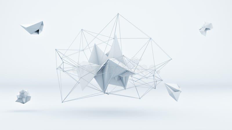 Forma 3D poligonal futurista no estúdio branco ilustração royalty free