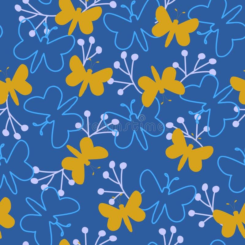Forma da borboleta e teste padrão azul bonito da silhueta, telha sem emenda do teste padrão do vetor da repetição ilustração royalty free