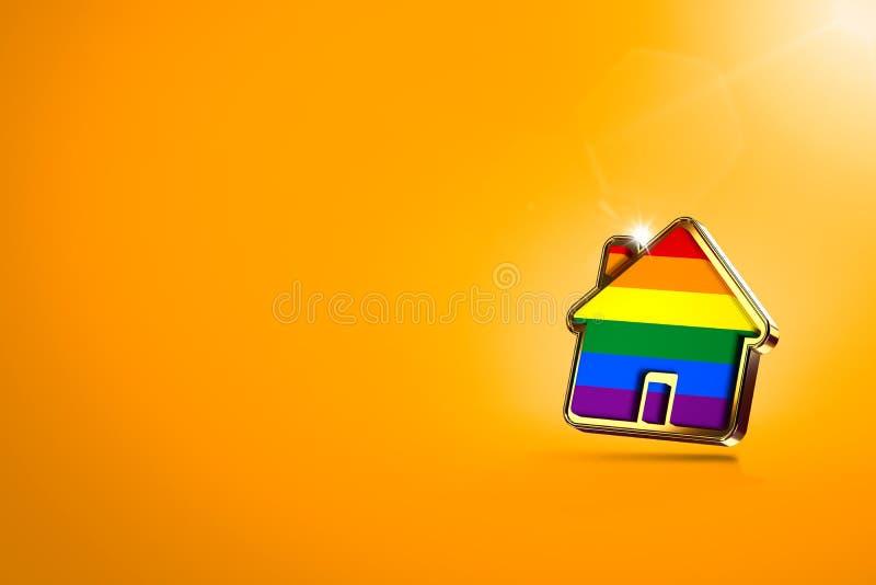 Forma da casa com o arco-?ris do orgulho alegre no fundo alaranjado, espa?o da c?pia Povos alegres direitos para viver junto o co ilustração royalty free