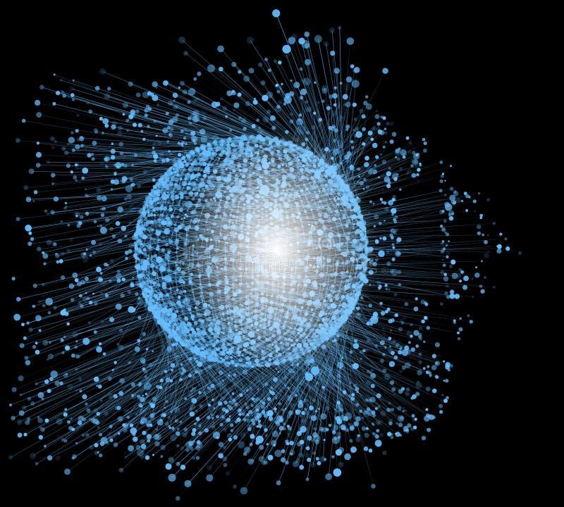 Forma da esfera das partículas na nuvem caótica Fundo das partículas do vetor ilustração royalty free