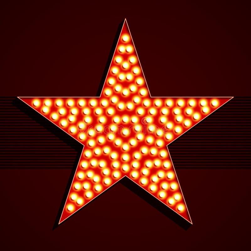 Forma da estrela da ampola do estilo de Broadway ilustração stock