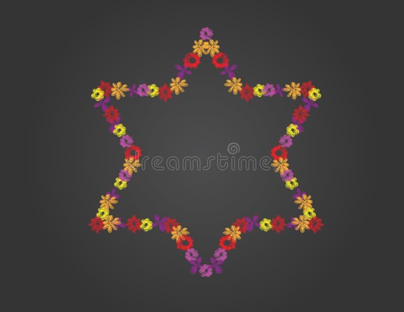 Forma da estrela de David das flores tiradas mão no fundo preto ilustração royalty free