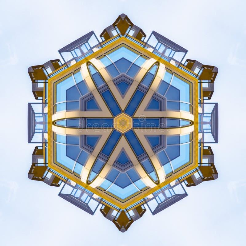 A forma da estrela fez janelas do prédio de apartamentos do formulário ilustração royalty free