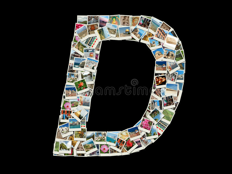 Forma da letra de D (alfabeto latin) feita como a colagem da foto do curso ilustração stock