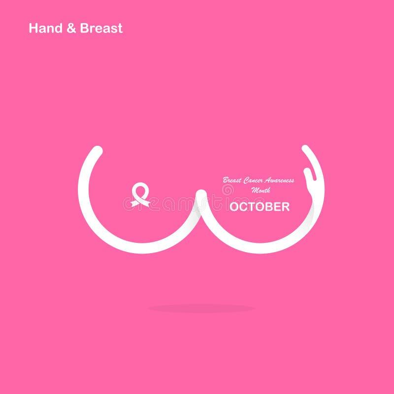 Forma da mão & ícone do peito Mês C da conscientização de outubro do câncer da mama ilustração do vetor