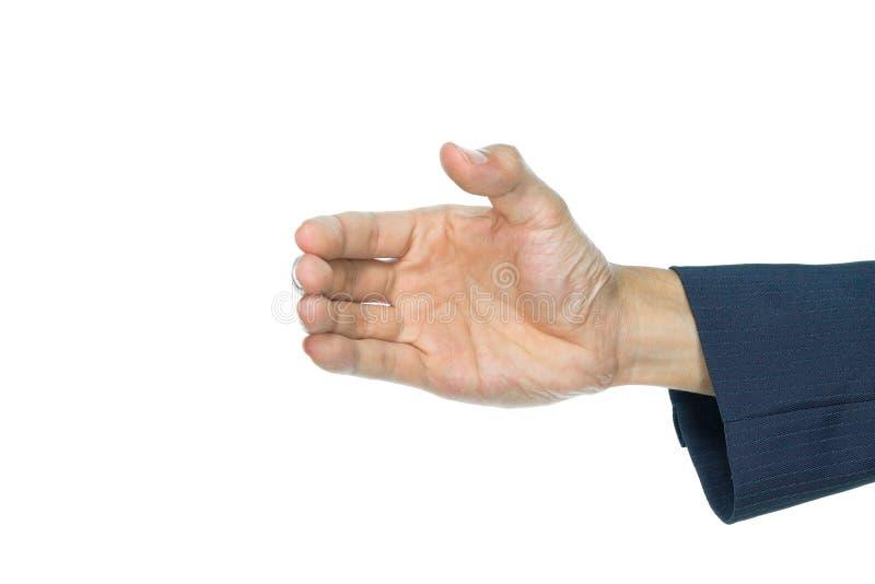 A forma da mão do homem de negócios está travando isolou-se no branco foto de stock