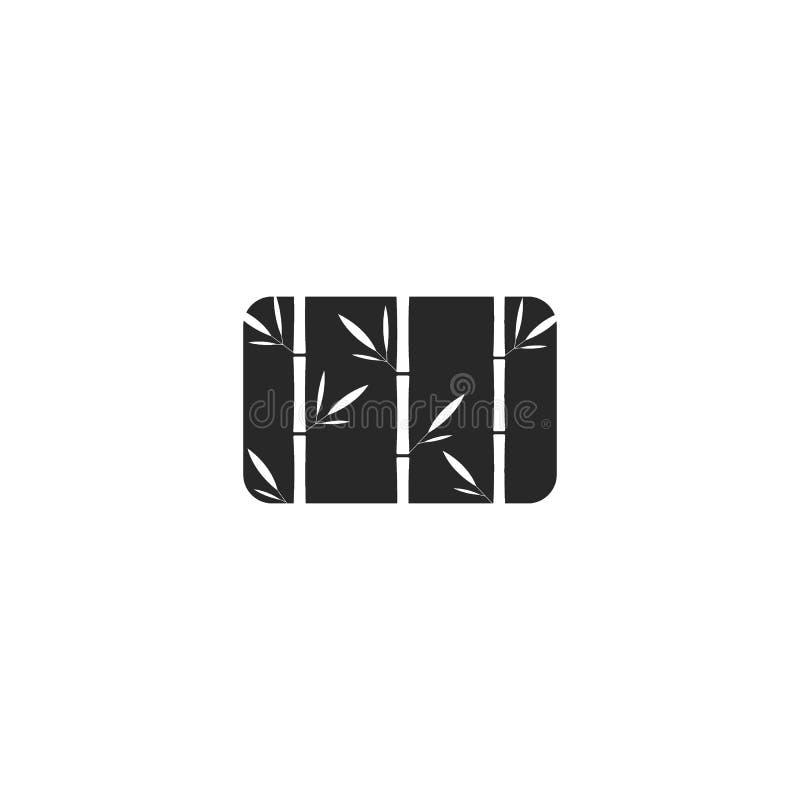 Forma de bambú del rectángulo del logotipo de la hierba, negativa blanco y negro, estilo del espacio, emblema creativo para el ba libre illustration