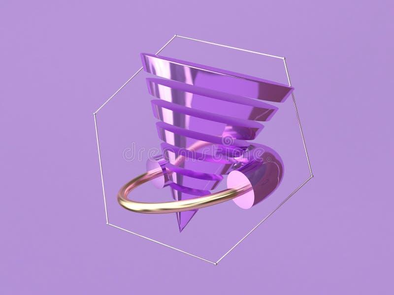 Forma de cone metálica roxa 3d do sumário do quadro do hexágono que torna o fundo roxo da levitação metálico ilustração do vetor