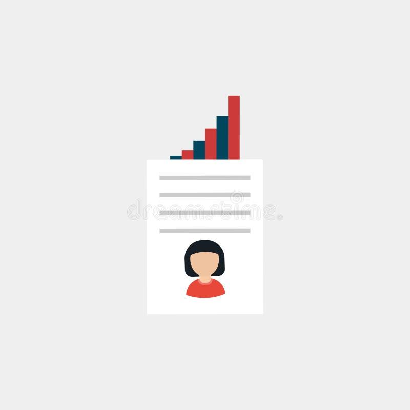Forma de curriculum vitae Resumen escrito El concepto de empleo Ilustración del vector Búsqueda de trabajo icono Ilustración del  libre illustration