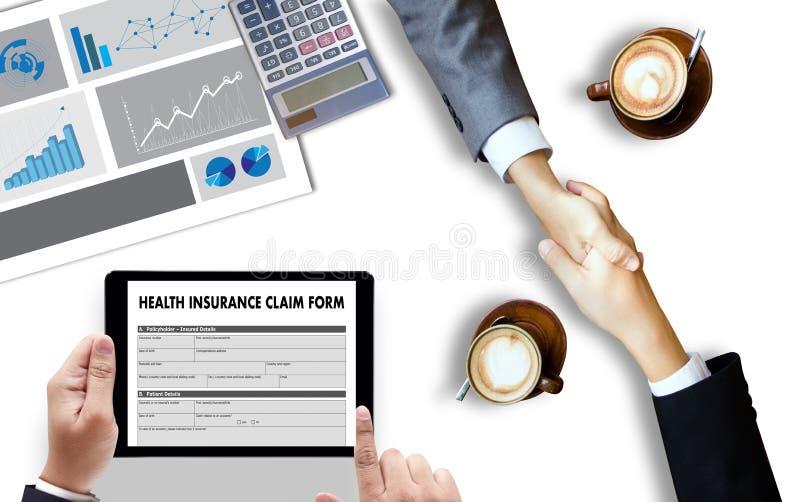 FORMA de DEMANDA del SEGURO MÉDICO, atención sanitaria del concepto del uso foto de archivo libre de regalías