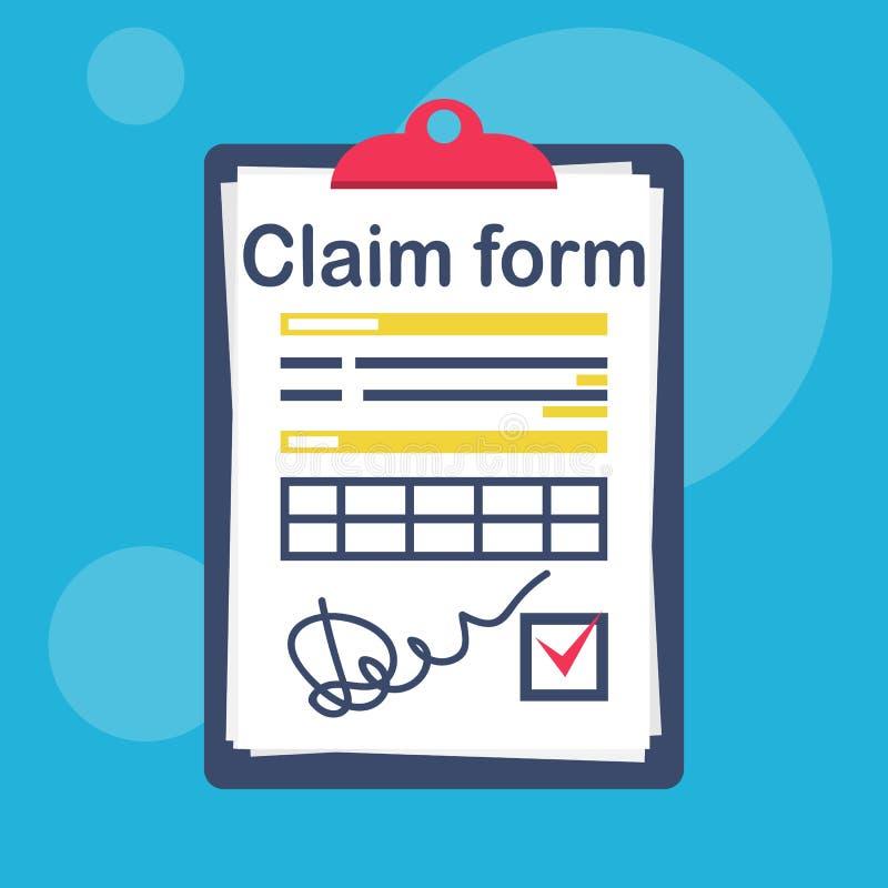 Forma de demanda de seguro con una marca de verificación y una firma ilustración del vector