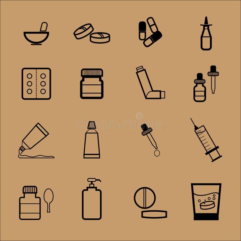 Forma de dosificación de la droga de la farmacia ilustración del vector