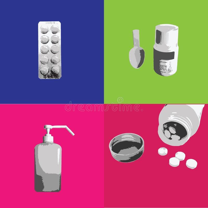 Forma de dosificación de la tableta médica y del jarabe libre illustration