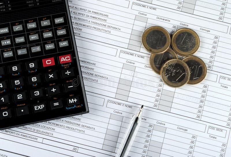 Forma de impuesto del italiano 730, edición 2015 fotografía de archivo libre de regalías