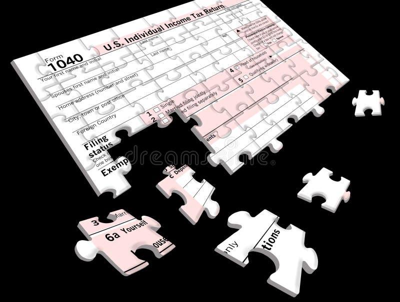 Forma de impuesto federal sobre la renta 1040 que es un rompecabezas fotografía de archivo libre de regalías