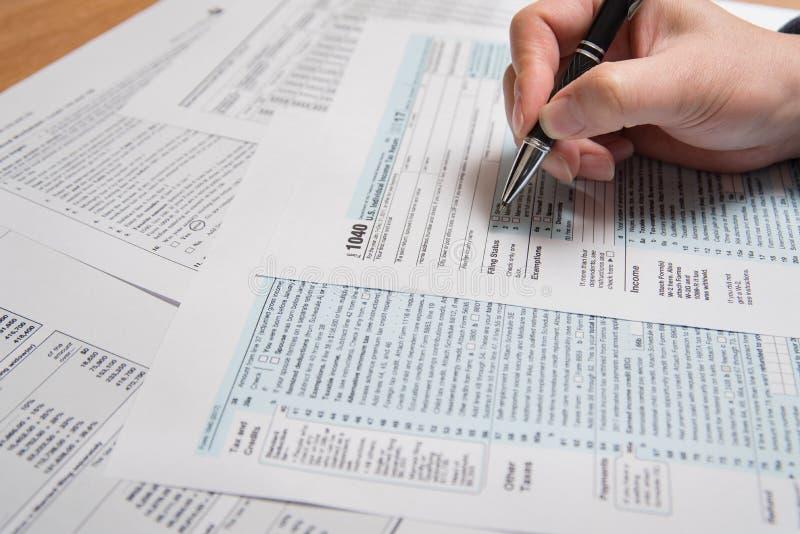 Forma de impuesto de los E.E.U.U. 1040 imágenes de archivo libres de regalías