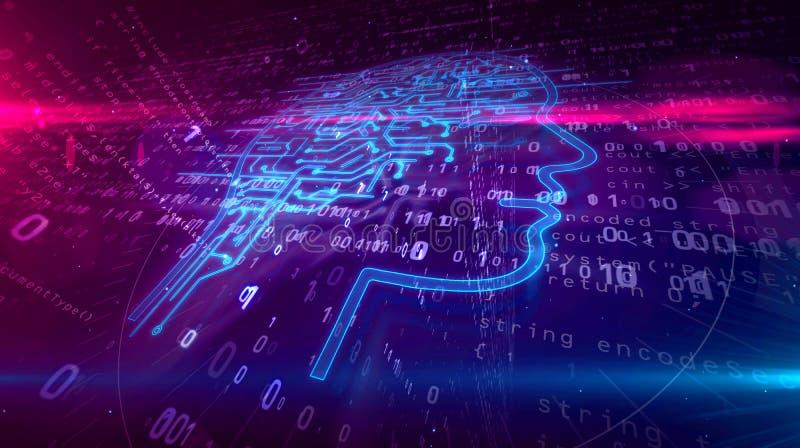 Forma de la cabeza de la inteligencia artificial en fondo digital stock de ilustración
