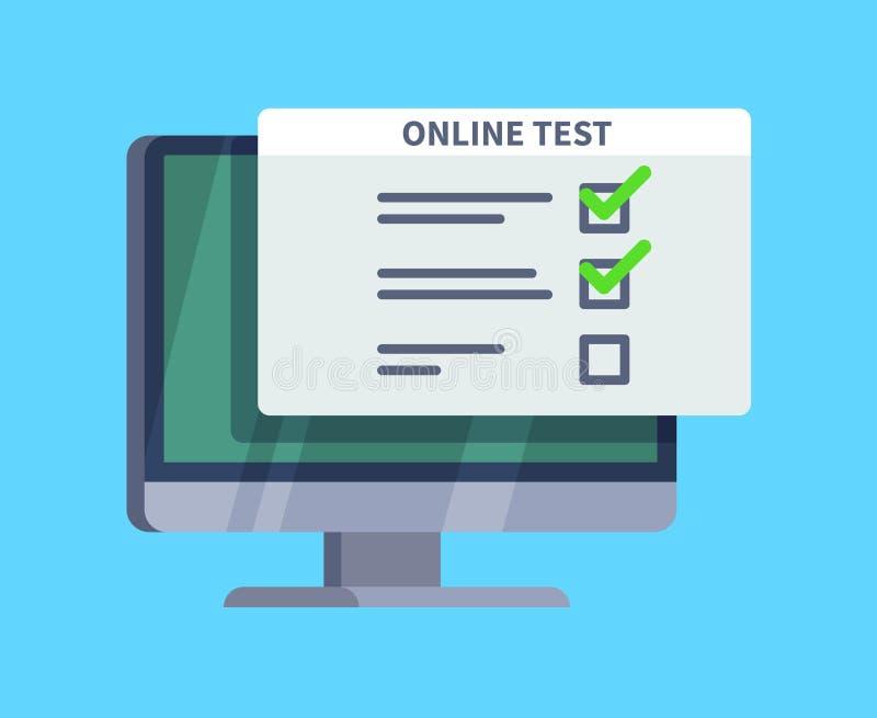 Forma de la encuesta sobre cuestionario de la prueba en línea en la pantalla de la PC Lista del examen, prueba del ordenador y co ilustración del vector