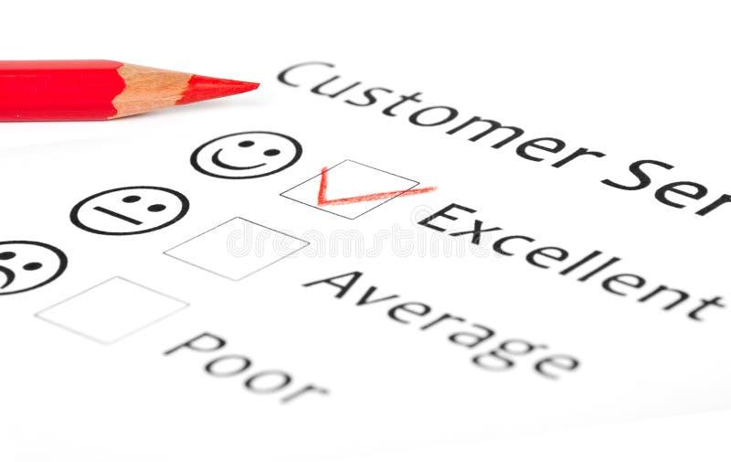 Forma de la encuesta sobre la satisfacción del cliente fotos de archivo