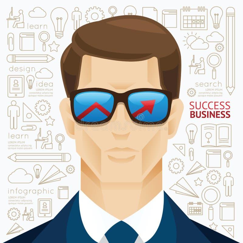 Forma de la flecha de la cara del hombre de negocios de Infographic en la plantilla d de los sungrass libre illustration