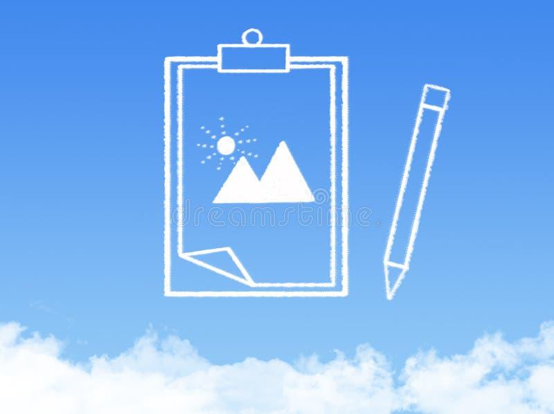 Forma de la nube del documento de papel de la libreta fotografía de archivo