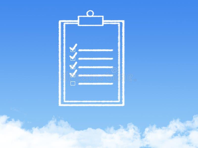 Forma de la nube del documento de papel de la libreta imagen de archivo libre de regalías