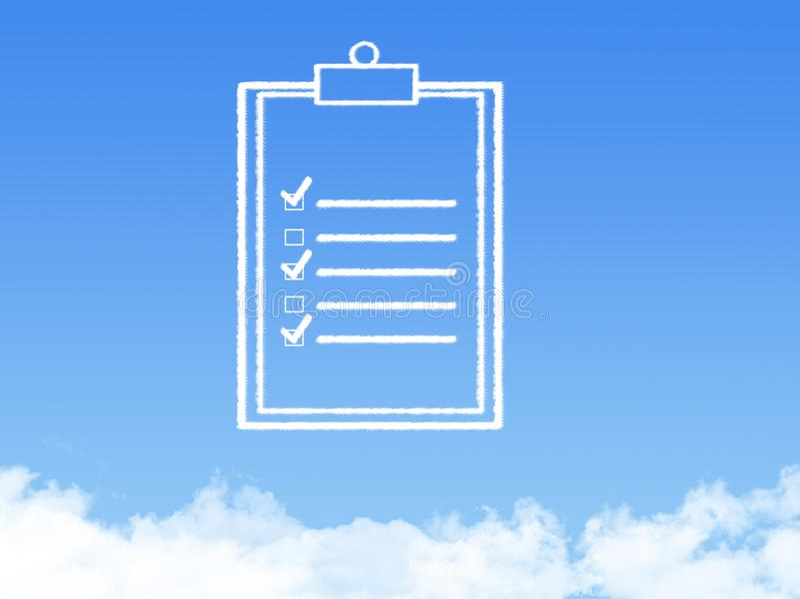 Forma de la nube del documento de papel de la libreta foto de archivo libre de regalías