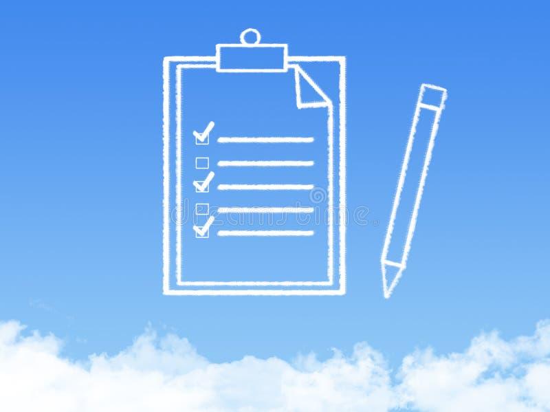 Forma de la nube del documento de papel de la libreta imágenes de archivo libres de regalías
