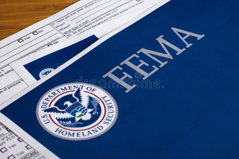 Forma de la seguridad de patria del FEMA los E.E.U.U. fotografía de archivo
