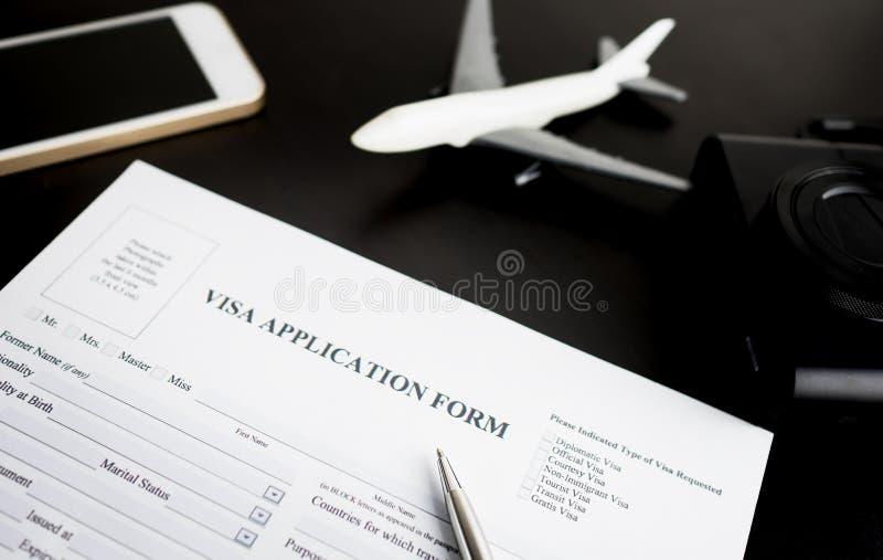 Forma de la solicitud de visado del viaje para las vacaciones imagen de archivo libre de regalías