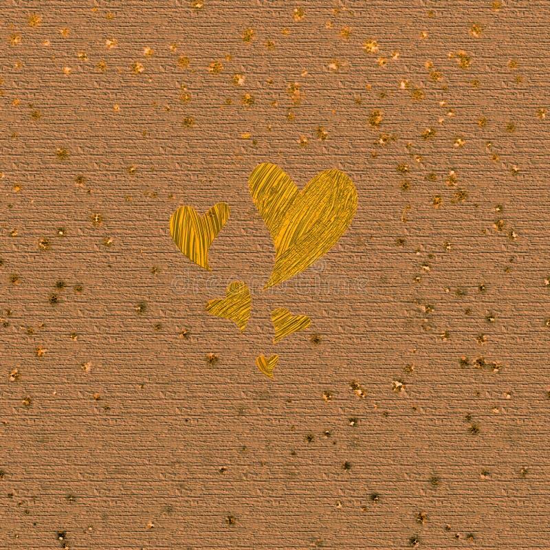 Forma de madeira do coração do entalhe Arte finala oxidada do ouro do sumário Fundo de superf?cie do Grunge Bom para contextos, f ilustração stock