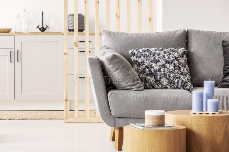 Forma de madera del bloque dos como las mesas de centro con destrezas del kinck delante del sofá escandinavo gris con las almohad fotos de archivo libres de regalías
