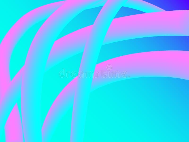 Forma de néon do vetor do sumário 3d Inclinação fluido líquido com mistura Efeito 3D moderno futurista Fundo dinâmico colorido de ilustração royalty free