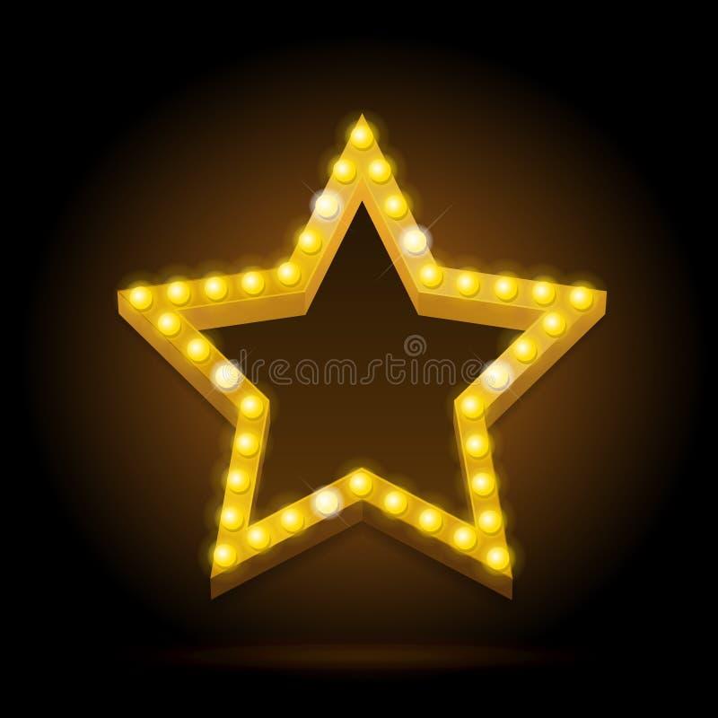 Forma de neón de la estrella del resplandor del vintage de las bombillas Vector libre illustration
