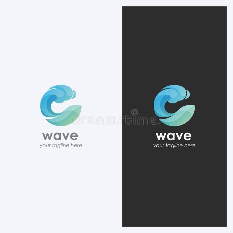 Forma de onda abstrata Logo Design Template da água Tema da empresa Cosméticos, conceito do esporte da ressaca Estilo simples e l ilustração royalty free