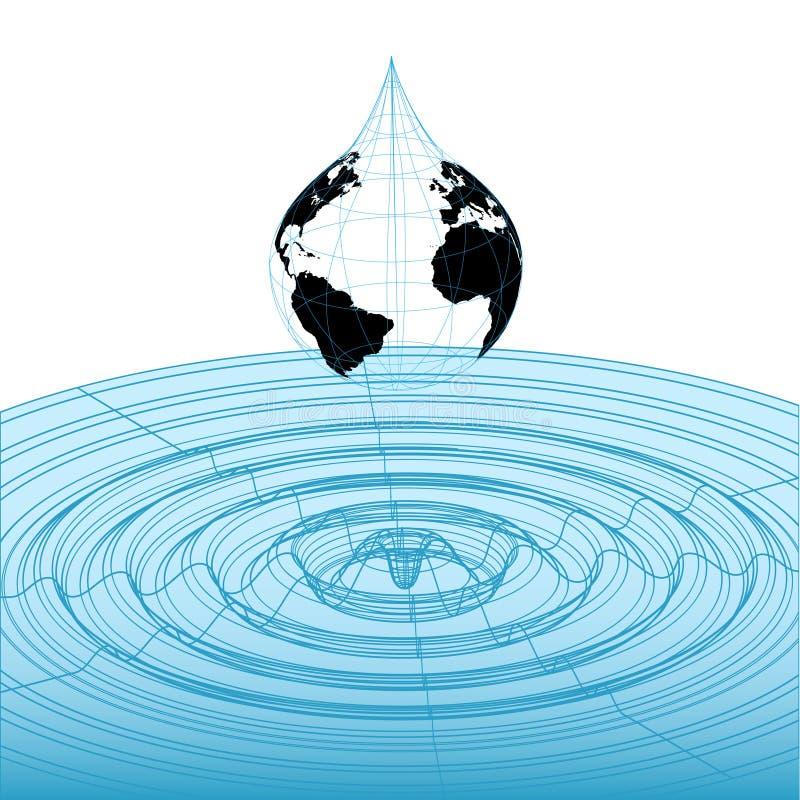 Forma de onda del wireframe de la gota de la tierra stock de ilustración