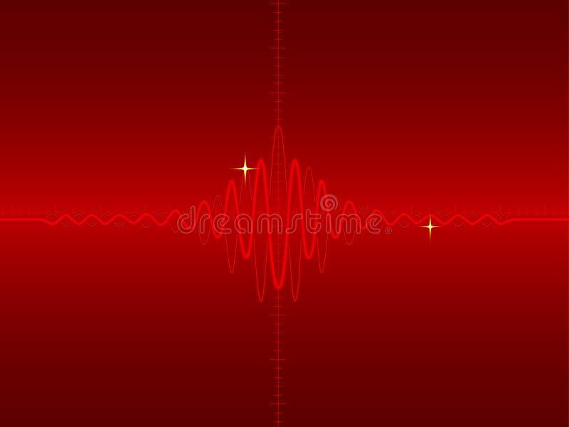 Forma de onda eléctrica en rojo libre illustration