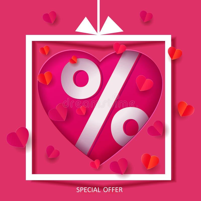 Forma de papel do coração com símbolo dos por cento ilustração royalty free