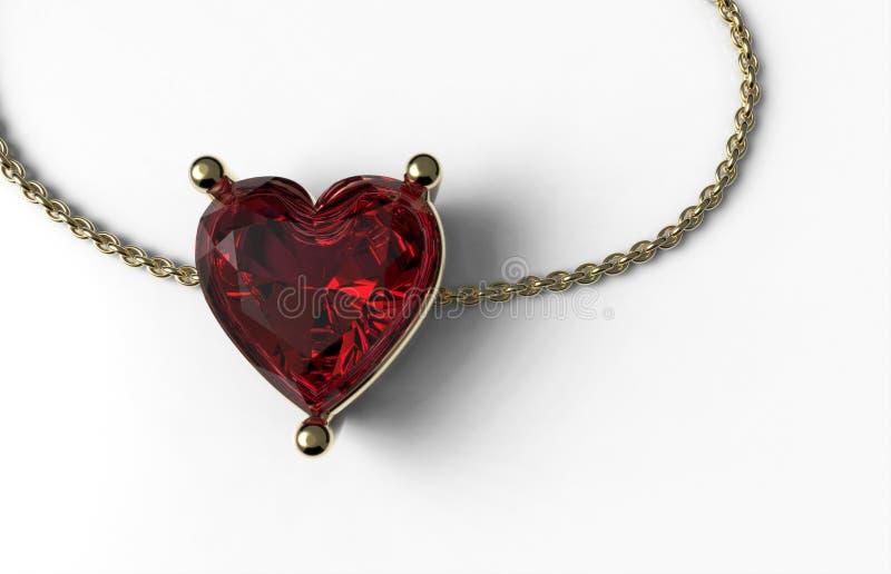 Forma de rubíes del corazón en oro y cadena del oro foto de archivo