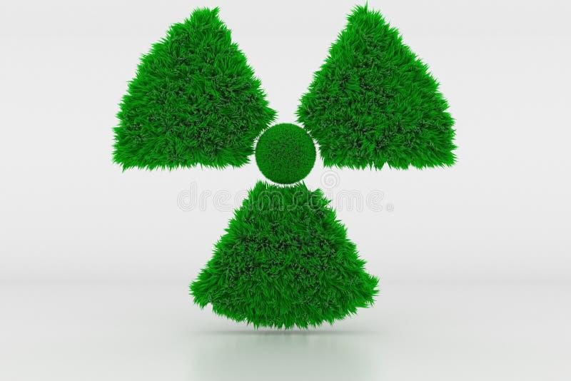 Forma de um sinal radioativo com grama verde fotos de stock