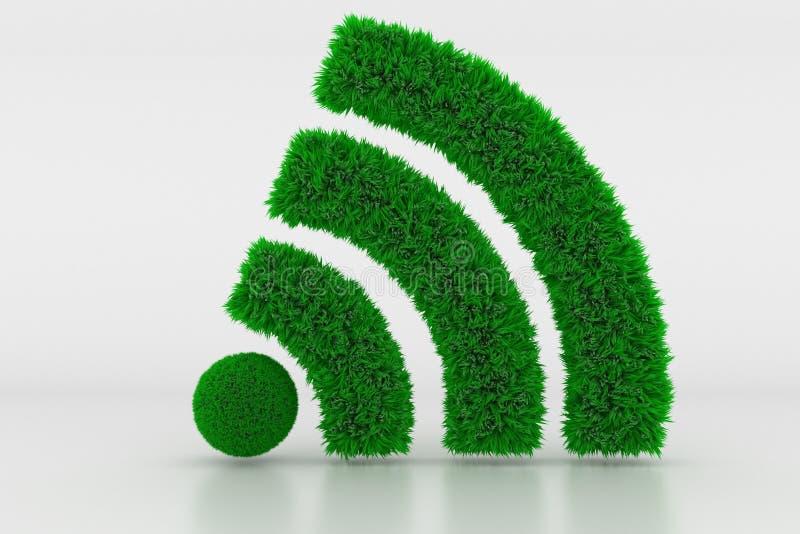 Forma de um sinal de Wifi com grama verde foto de stock