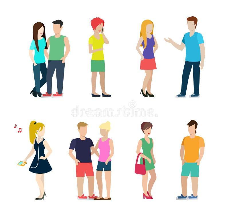 Forma de vida casual de la gente del vector plano: pares, hombres, mujeres libre illustration