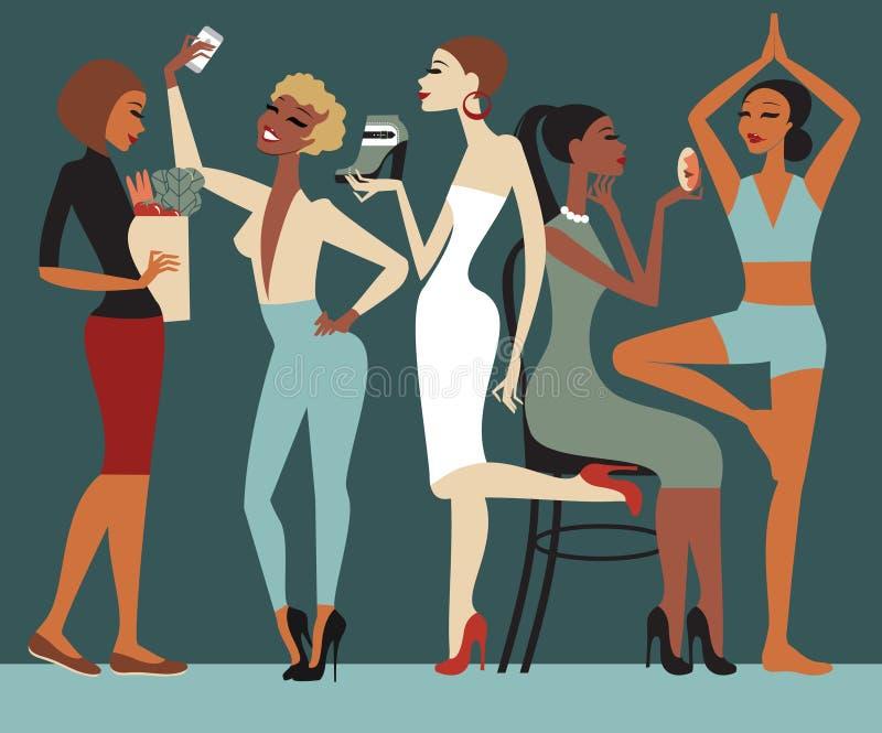 Forma de vida de las muchachas stock de ilustración