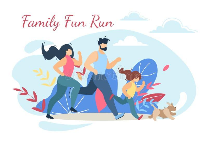 Forma de vida feliz de la actividad del deporte de la diversión del funcionamiento de la familia ilustración del vector